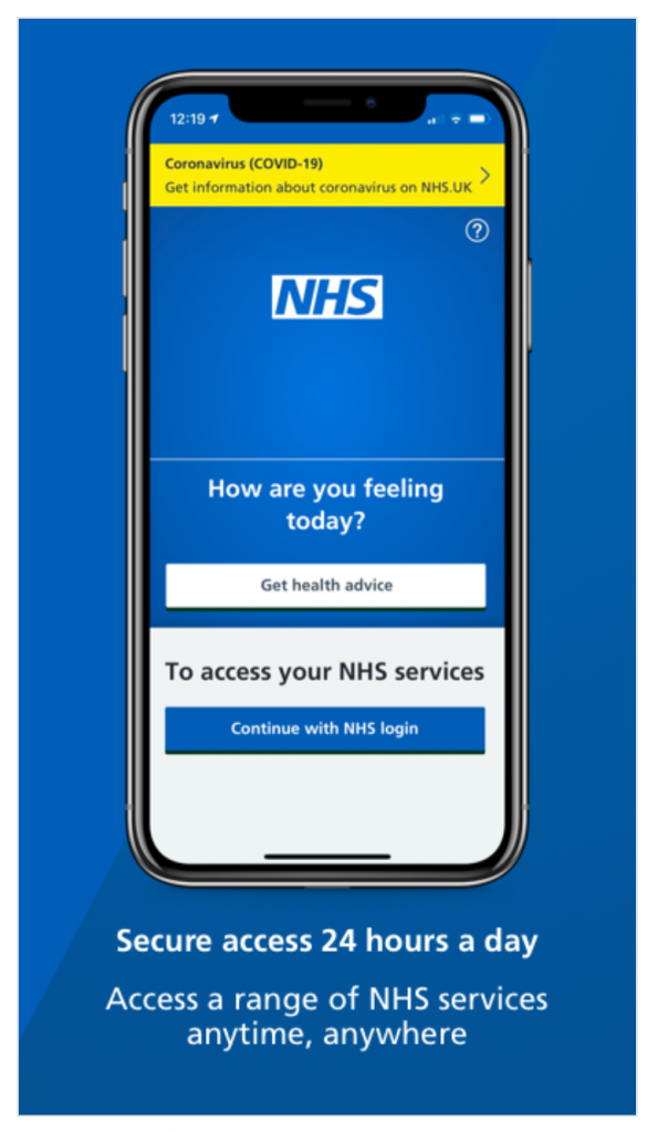 Image of phone used to link to the NHS app
